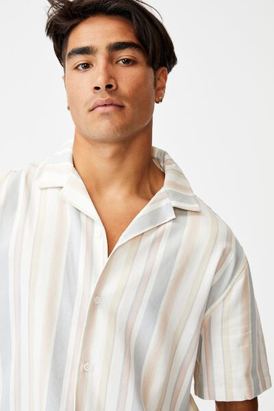 Textured Short Sleeve Shirt, MULTI COLOURED STRIPE