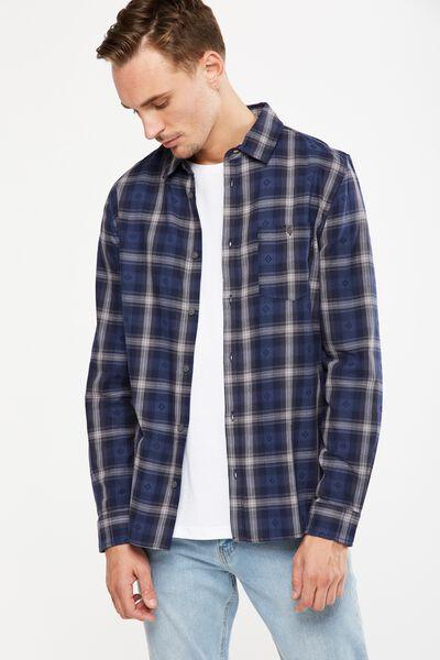 Rugged Long Sleeve Shirt, INDIGO SHADOW CHECK