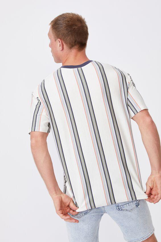 Downtown T-Shirt, VINTAGE WHITE SPACED STRIPE