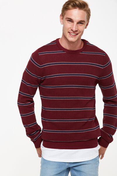 Lightweight Crew Sweater, RED/NAVY STRIPE