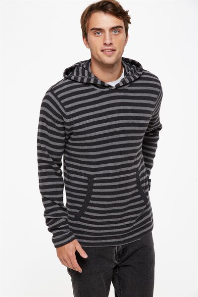 Hooded Waffle Knit, BLACK/GREY STRIPE