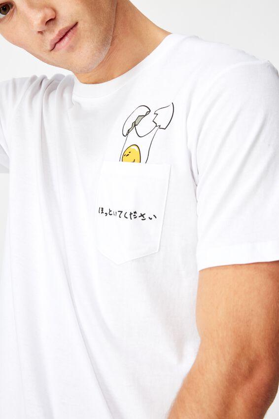 Tbar Collab Character T-Shirt, LCN SAN WHITE/GUDETAMA - CRACKED POCKET