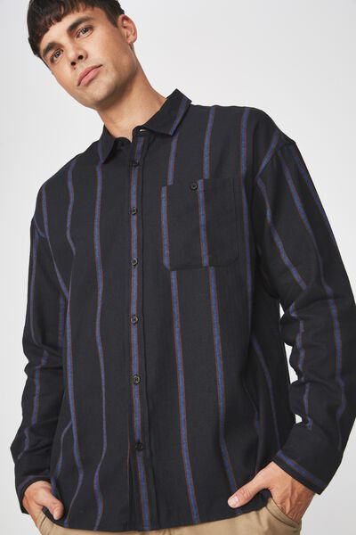 Long Sleeve Rugged Light Shirt, BLACK BLUE BROWN VERT STRIPE