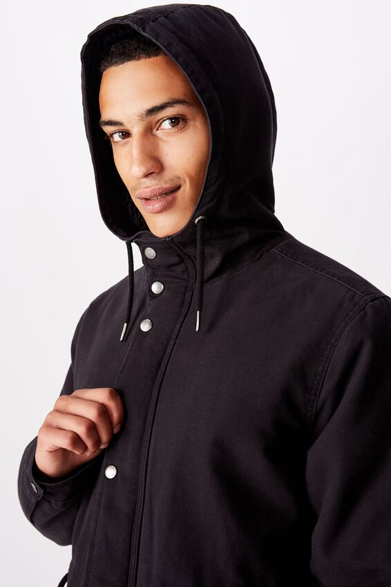 Hooded Parka, BLACK