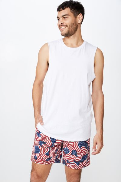 Hoff Short, WHITE / USA FLAGS