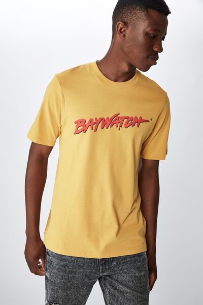 Tbar Collab Movie And Tv T-Shirt, LCN FRE SK8 AGED YELLOW/BAYWATCH - LOGO