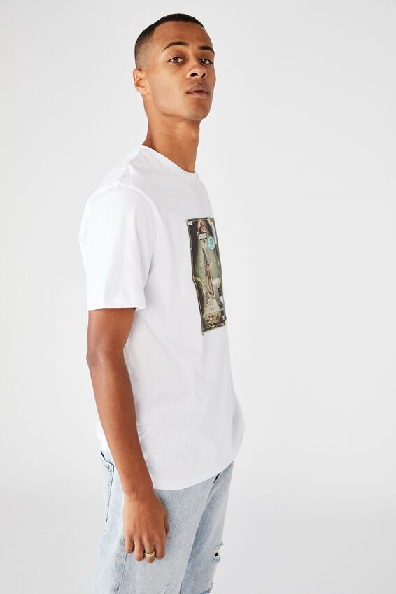 Tbar Collab Movie And Tv T-Shirt, LCN UNI WHITE/JURASSIC PARK - RETRO VHS
