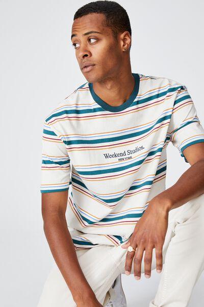 Dylan T-Shirt, DARK TEAL FUN STRIPE