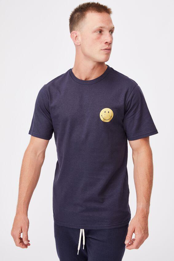 Tbar Collab Pop Culture T-Shirt, LCN SMI TRUE NAVY/SMILEY-MOODS