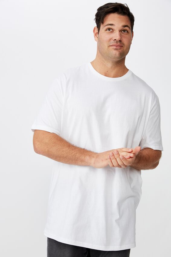 Bg Essential Longline Curved Hem, WHITE