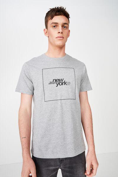 Urban T-Shirt, GREY MARLE/5 BOROUGHS