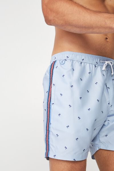 Swim Short, BLUE PALMS / SIDE STRIPE