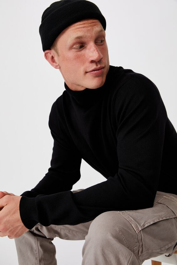 Roll Neck Sweater, BLACK