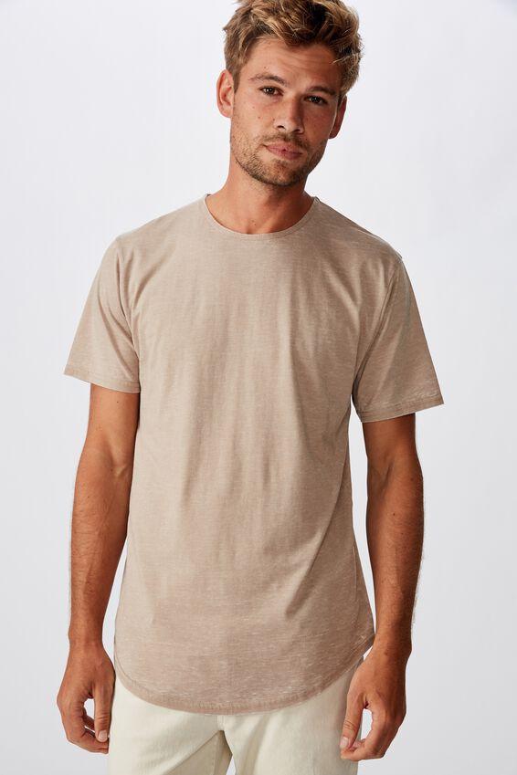 Longline Scoop Burnout T-Shirt, GRAVEL STONE