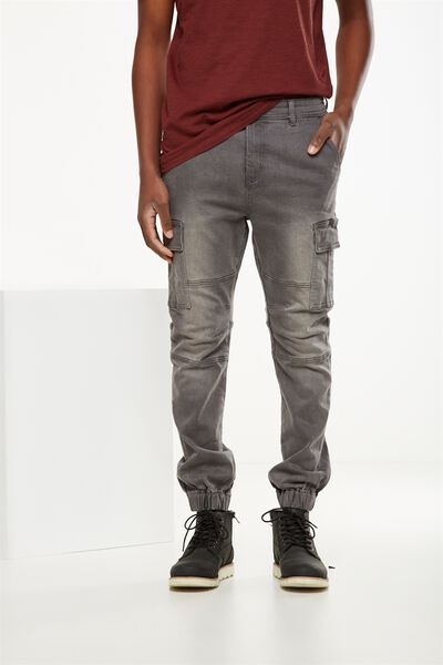 Slim Denim Jogger, WASHED GREY CARGO BIKER