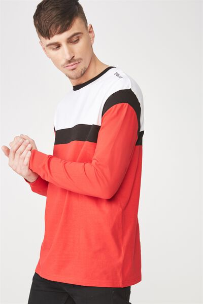 Tbar Long Sleeve, WHITE/BLACK/STRONG RED/NEUE LAB BLOCKED