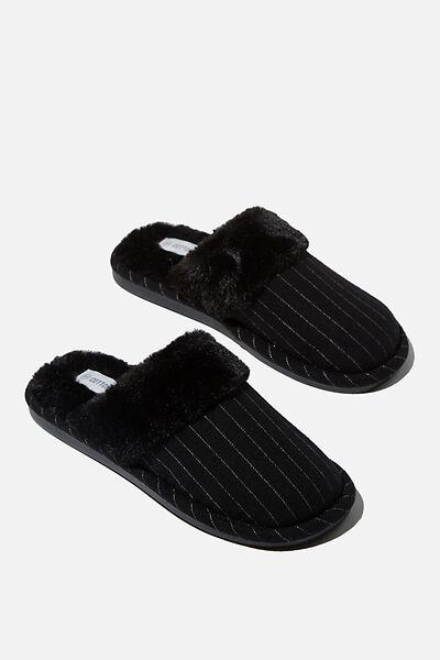 Lachlan Slippers, BLACK PIN STRIPE