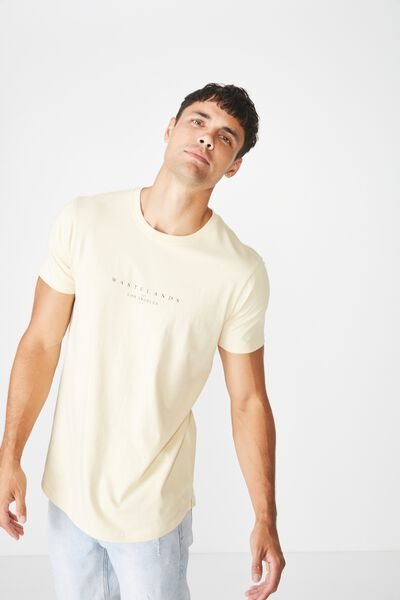 Longline Scoop Hem Tee, SEA MIST/WASTELANDS LOS ANGELES