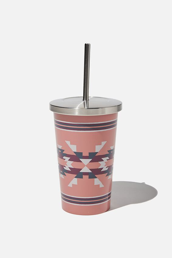 Metal Smoothie Cup 500Ml, PINK IKAT
