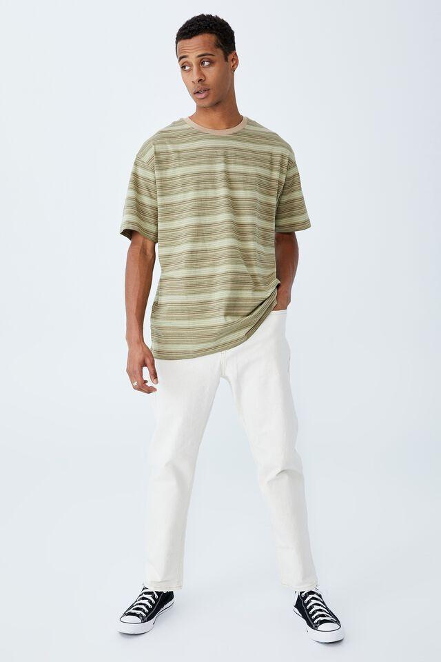 Loose Fit T-Shirt, MOSS STONE THIN STRIPE
