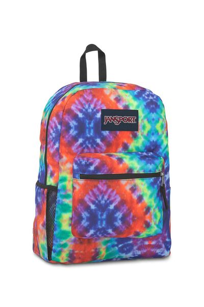 Jansport Cross Town Backpack, RED/MULTI HIPPIE DAYS