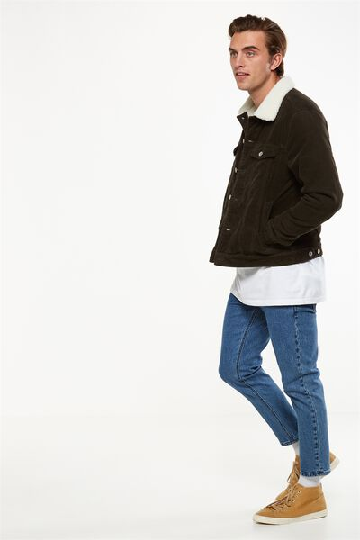 Borg Denim Jacket, KHAKI CORD