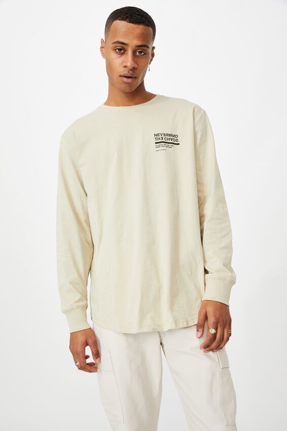 Longline Scoop Ls Tee, PALE SAND/THE CHAOS HAZARD