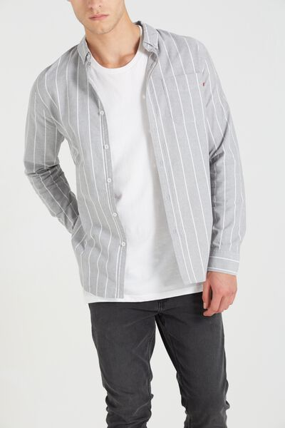 Brunswick Shirt 3, GREY SPACE STRIPE