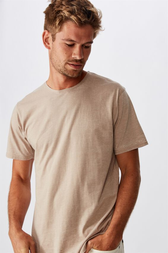 Longline Scoop Burnout T-Shirt, GRAVEL STONE