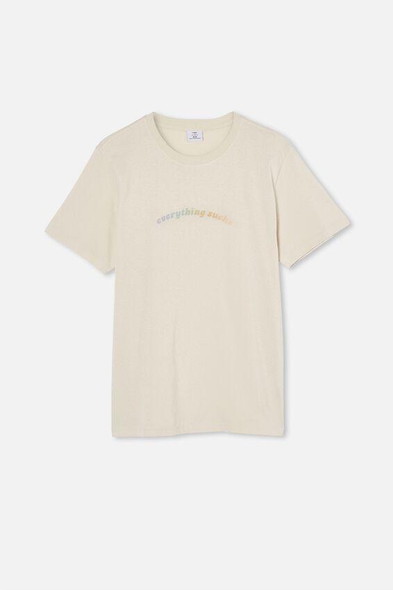 Tbar Text T-Shirt, BONE/EVERYTHING SUCKS