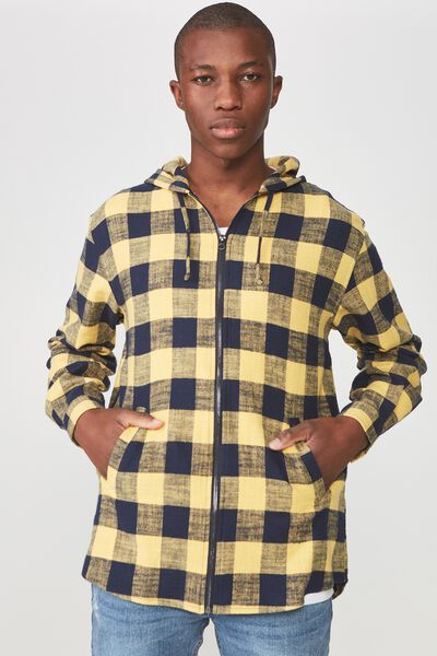 Zip Hood Shirt, NAVY YELLOW CHECK