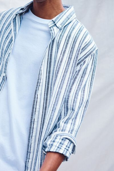 Textured Long Sleeve Shirt, BLUE STRIPE