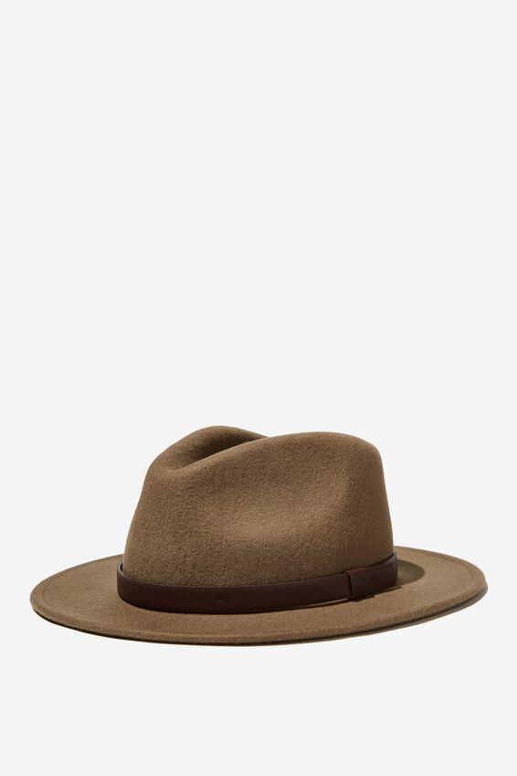 Wide Brim Felt Hat, FAWN/BROWN