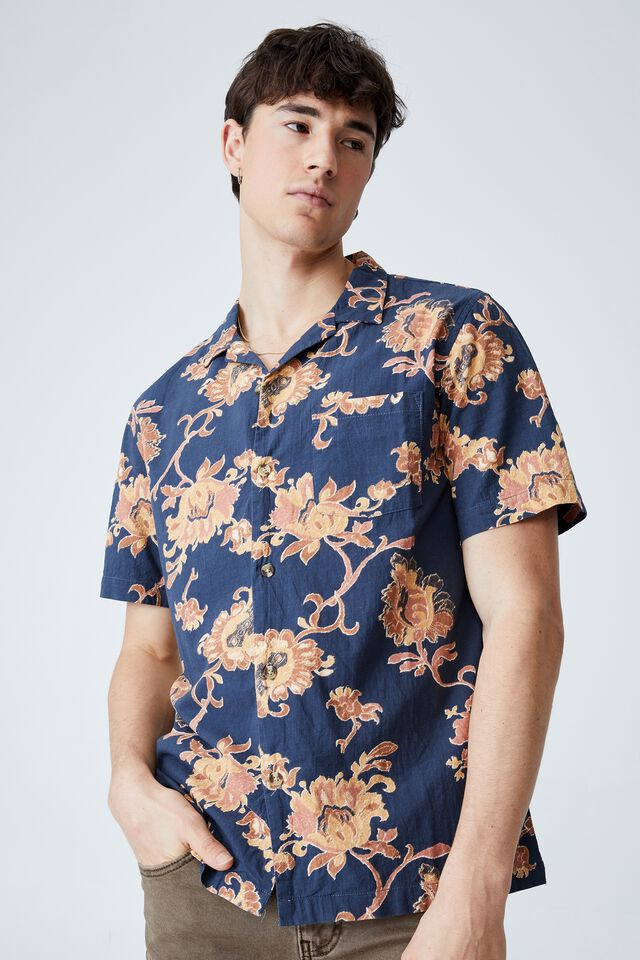 Riviera Short Sleeve Shirt, INDIGO 70 S FLORAL