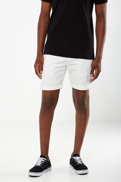 Washed Chino Short, WHITE / DIAMOND DITZY