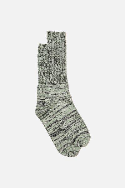 Chunky Knit Sock, KHAKI/BLACK/WHITE