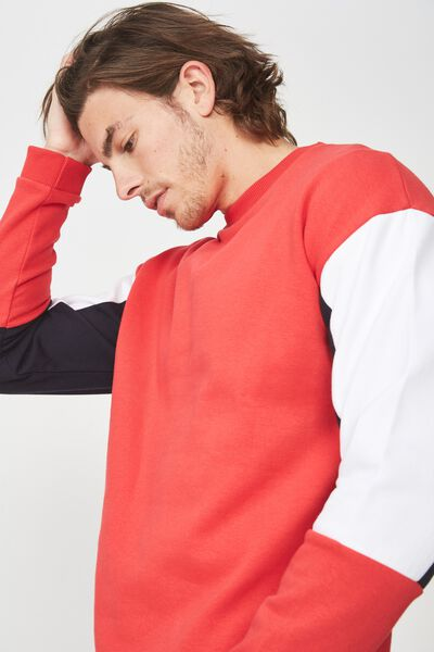 Drop Shoulder Crew Fleece, STRONG RED/INK NAVY/WHITE