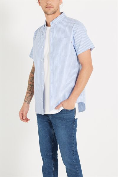 Vintage Prep Short Sleeve Shirt, BLUE/WHITE STRIPE