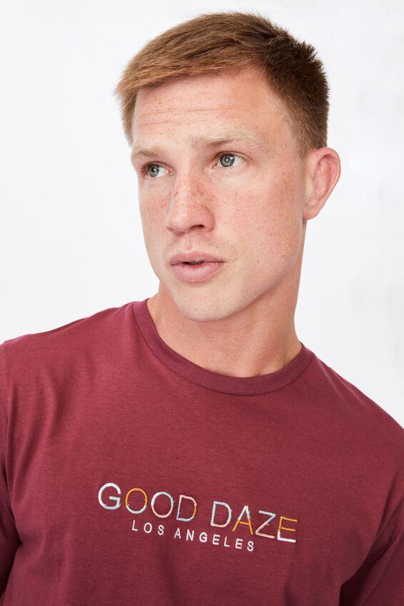 Tbar Text T-Shirt, ROSEWOOD/GOOD DAZE COLOURS