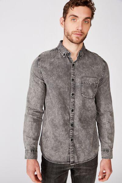 Washed Long Sleeve Shirt, WORN BLACK