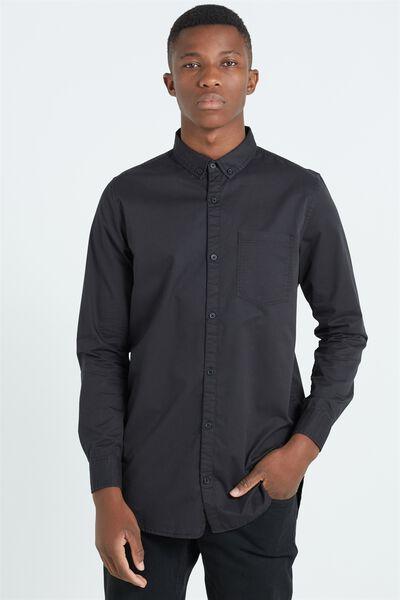 Ae Long Sleeve Longline Shirt, BLACK