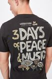 Tbar Collab Music T-Shirt, LCN PER WASHED BLACK/WOODSTOCK-3 DAYS OF PEAC