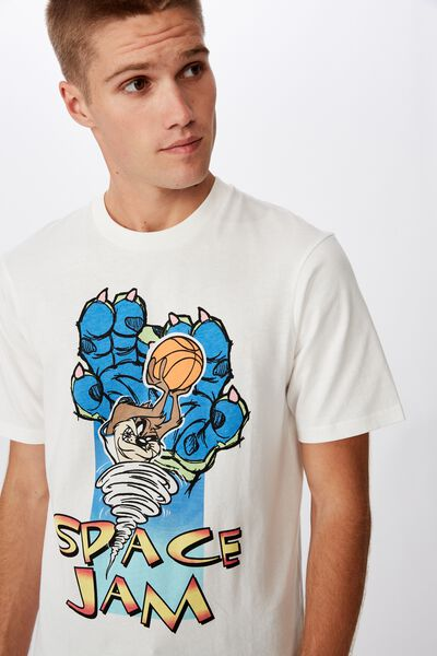 Tbar Collab Movie And Tv T-Shirt, LCN WB SK8 VINTAGE WHITE/SPACE JAM - TAZ CLAWS