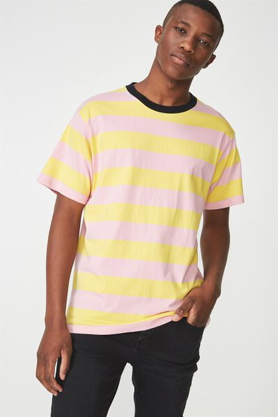 Dylan Tee, YELLOW/PINK BIG STRIPE