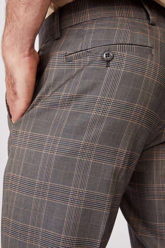 Fashion Slim Stretch Suit Pant, TAN CHECK