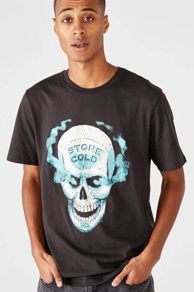 Tbar Collab Pop Culture T-Shirt, LCN WWE WASHED BLACK/WWE - STONE COLD HELL YEA