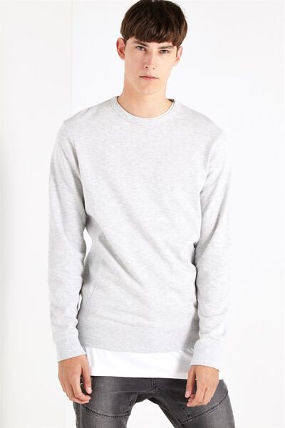 Crew Fleece 2, LIGHT GREY MARLE