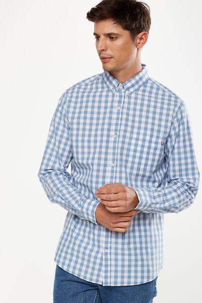 Brunswick Shirt 3, SKY GINGHAM CHECK
