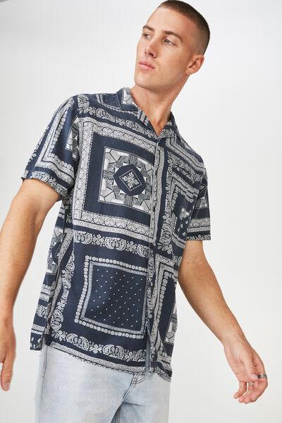 91 Short Sleeve Shirt, NAVY BANDANA