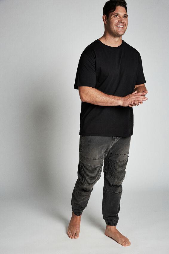 Bg Slim Denim Jogger, WASHED BLACK MOTO RIPS